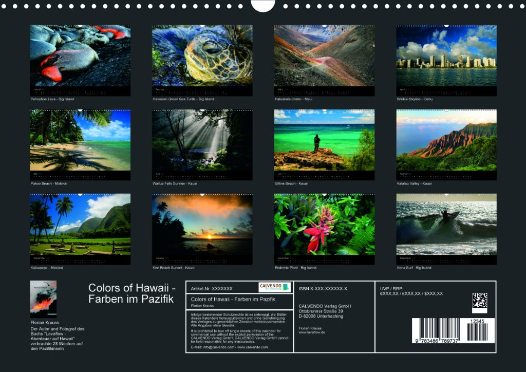 Hawaii-Kalender-Rückseite